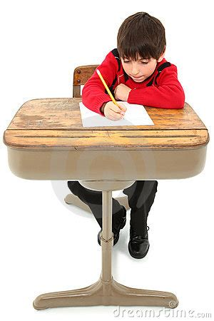Kid At Desk Child Desk Student Work Stock Image Image 17129891