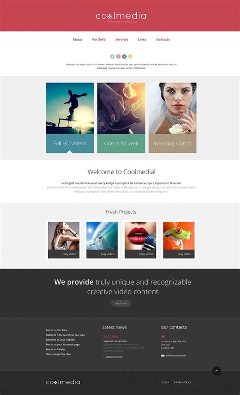 website templates for videographers videographer responsive website template 48030 by wt