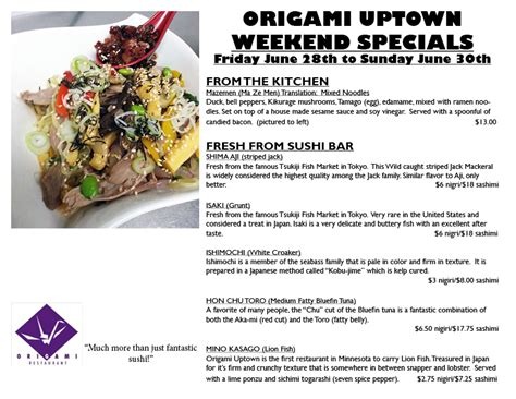 Origami Sushi Uptown - fantastic weekend specials from origami uptown origami
