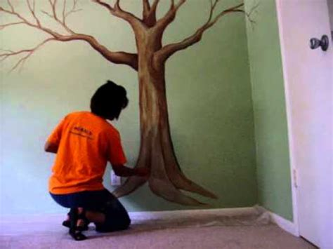 Painted Wall Murals For Kids painting a tree mural with a sponge part 2 youtube
