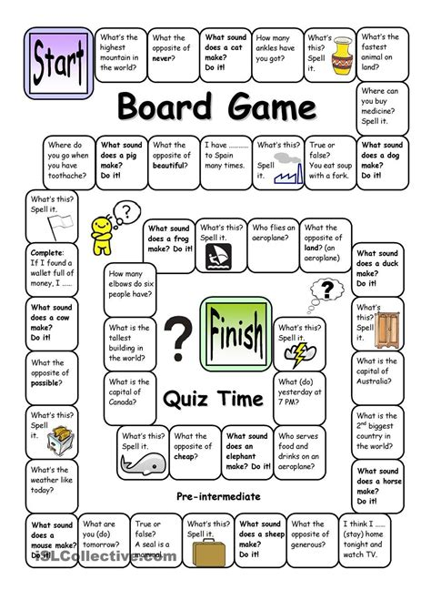 printable language board games board game quiz time pre intermediate english