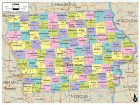 county map with highways detailed political map of iowa ezilon maps