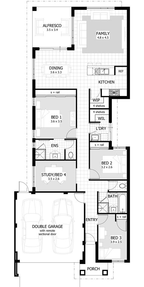 floor plans designs narrow lot single storey homes perth cottage home designs