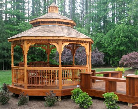 Octagon Gazebo Cedar Roof Octagon Gazebos With Metal Roof