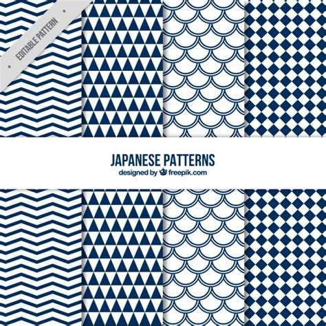 asian pattern ai eight blue japanese patterns vector free download