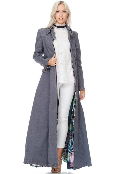 Maxi Coat tov grey denim maxi coat modishonline