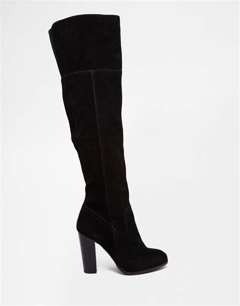 aldo bove black suede block heeled the knee boots in