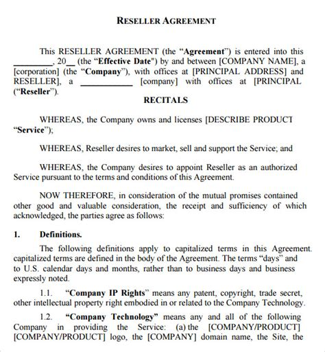 Reseller Contract Template reseller agreement 7 free documents in pdf word