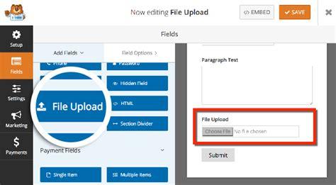 create  file upload form  wordpress