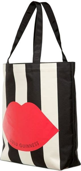Lulu Guinness Striped Maddy Tote by Lulu Guinness Striped Lip Tech Cotton Tote In