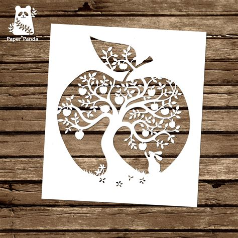 paper panda papercut diy design template apple