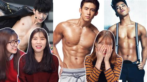 hot body korean boy band korean girls react to sexiest male idol k pop fan cams