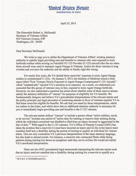 Support Letter For Va Disability Orange C 123k Aircrew Maintainers Va Now Honors Our Orange Claims April 2015
