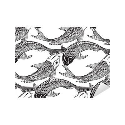black and white koi wallpaper seamless vector pattern with hand drawn koi fish sticker