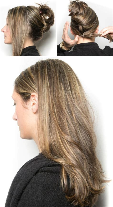 hair from behind tie your front section of hair in a hidden ponytail