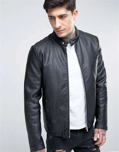 asos faux leather racing jacket in black in black for