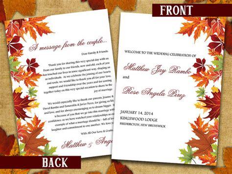 half fold wedding program template half fold wedding program template microsoft word autumn