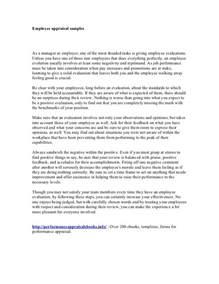 Employee Performance Appraisal Report Sample Appraisal Report Employee Performance Appraisal Report Sample