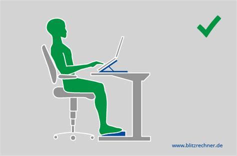 optimale schreibtisch höhe berechnen ergonomisch sitzen optimale h 246 he tisch stuhl berechnen