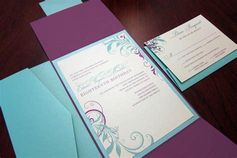 tiffany blue black and purple purple tiffany blue birthday invitation gate fold style