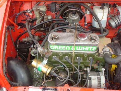 classic mini  green  white race engine