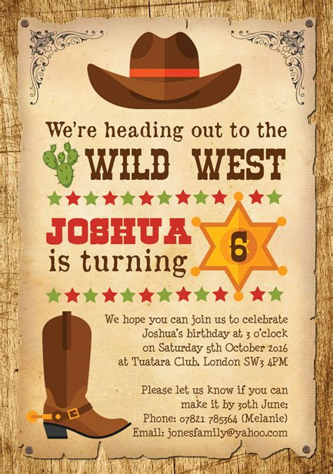 Cowboy Wild West Birthday Party Invitation From 163 0 80 Each West Invitation Template