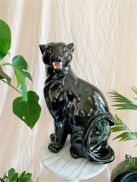 large black panther ceramic statue storytellers workshop