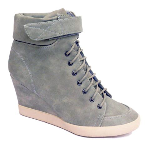 womens pebble grey lace up velcro ankle wedge