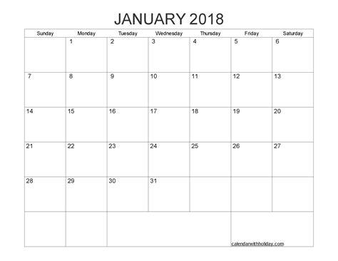 printable calendar 2018 january pdf january 2018 blank calendar printable pdf word image
