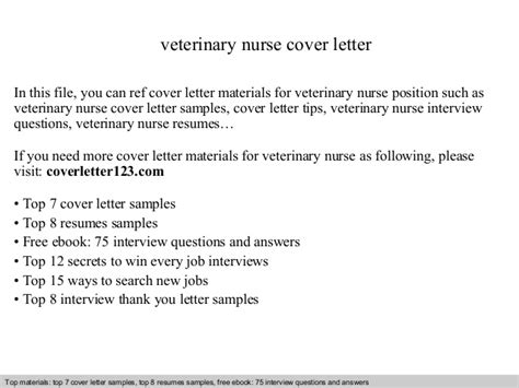 veterinary nurse cover letter
