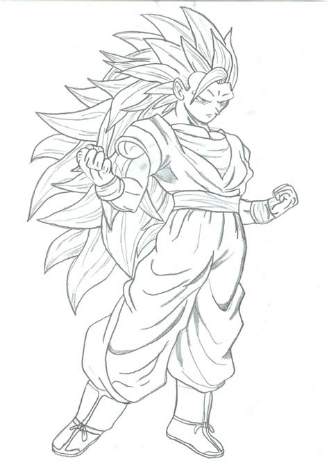 goku super saiyan 3 coloring coloring pages