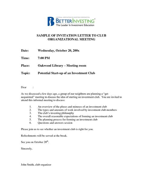 Invitation Letter For Inaugural Meeting Best Photos Of Business Meeting Invitation Letter Business Invitation Letter Sle Business