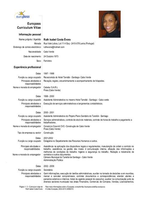 Modelo Curriculum Una Pagina C V Europass Portugu 234 S