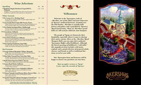 menu design norway menu akershus royal banquet hall epcot norway pavilion