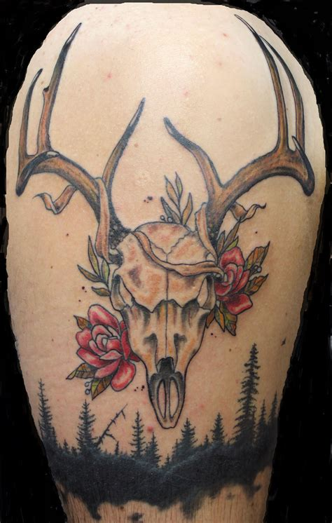 traditional deer tattoo neo traditional deer skull and roses and black