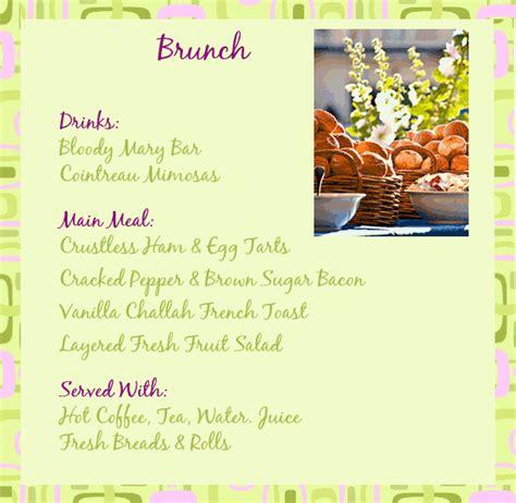 brunch menu ideas engagement brunch menu easy and dinner