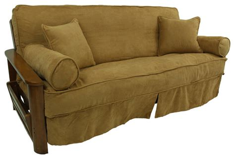 microsuede slipcovers blazing needles solid microsuede full futon slipcover set