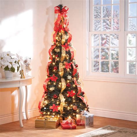 collapsible christmas trees pull up 7 ft pull up fully decorated pre lit poinsettia tree walter