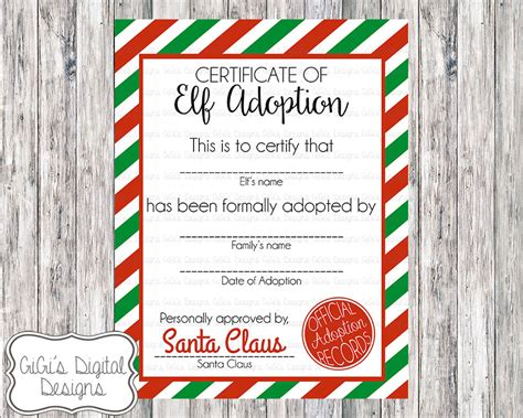 printable elf on the shelf certificate elf adoption certificate christmas shelf elf adopt an elf