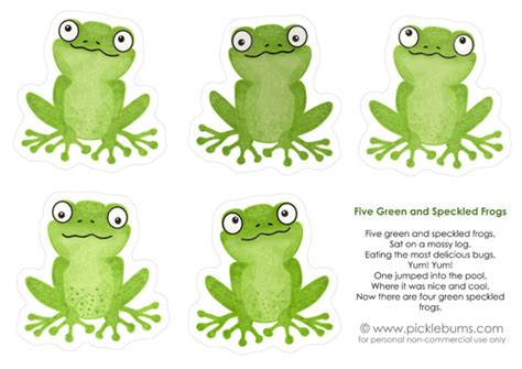 frog finger puppet template five green frogs kid s printable picklebums