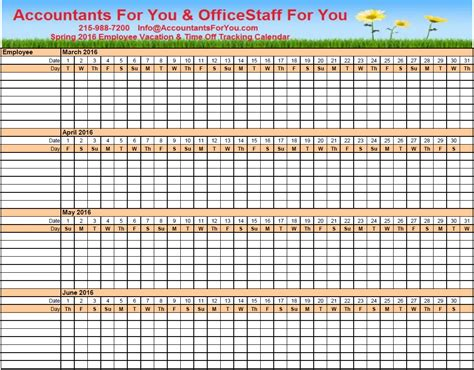 Vacation Calendar Employee Vacation Tracking Calendar Template Excel