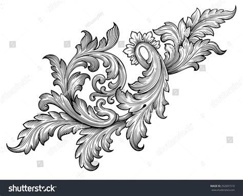 vintage baroque frame leaf scroll floral stock vector