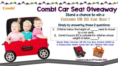 Car Seat Giveaway - combi car seat giveaway pregnancy in singapore