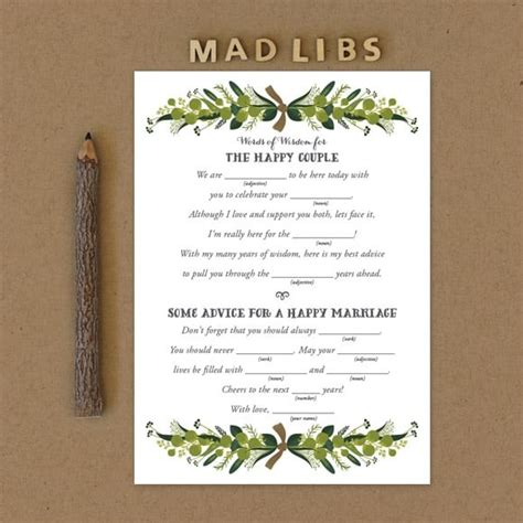 Wedding Mad Libs by Wedding Mad Libs For Engagement Bridal Shower And