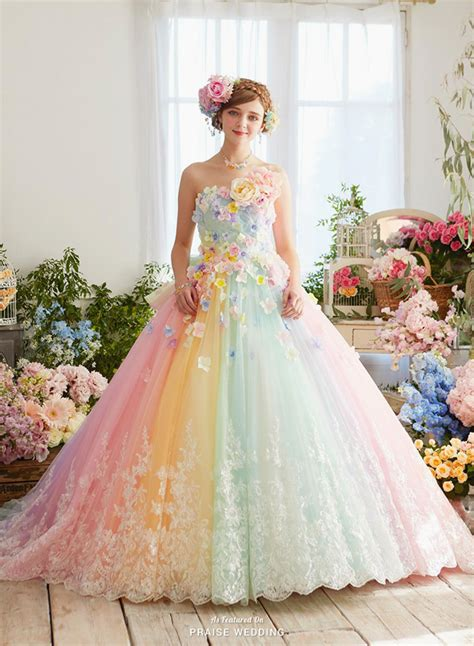 chagne colored flower dress how pretty is this pastel rainbow gown from
