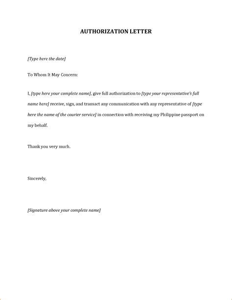 letter format of authorization authorization letter financial authorization letter sle