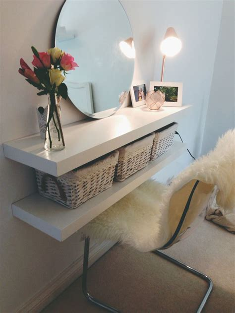 couldn t afford a dressing table cheap diy alternative ikea 2 shelves vase photo frames