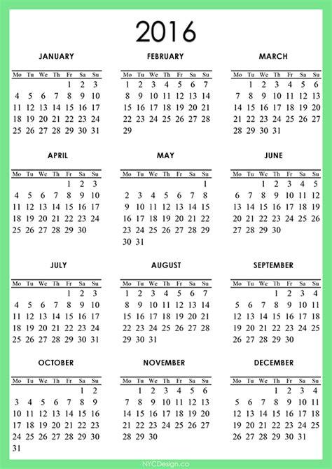 printable calendar 2016 to 2018 new york web design studio new york ny 2016 calendar
