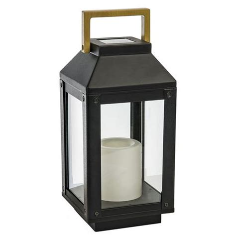 Patio Lantern Lights Walmart Paradise Gl29968bk Solar Metal Lantern And Flameless