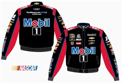 design your own nascar jacket tony stewart mobil 1 mens black twill nascar jacket by jh